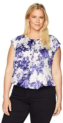 Kasper Women's Plus Peony Printed Charmeuse Extend Cap Sleeve Blouse