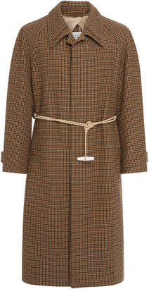 Maison Margiela Belted Checked Cotton-Felt Overcoat