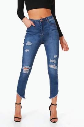 boohoo Casey Cut Hem Distressed Skinny Jeans