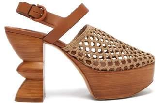 Salvatore Ferragamo Antium Woven Front Wooden Platform Heels - Womens - Khaki
