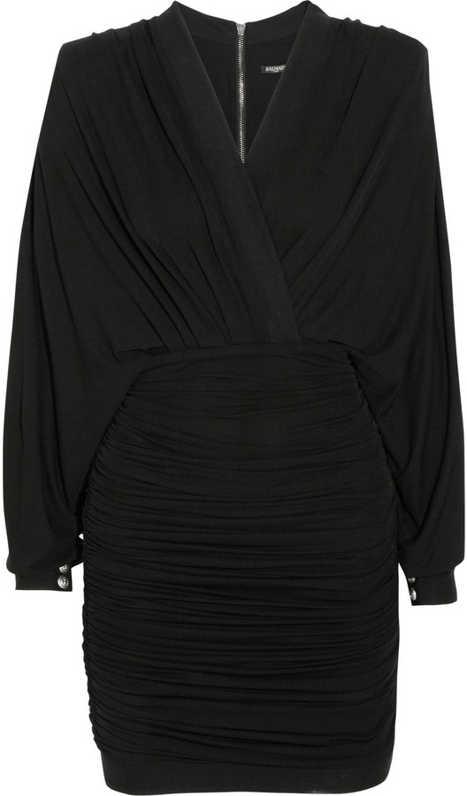 Balmain Ruched Jersey Mini Dress