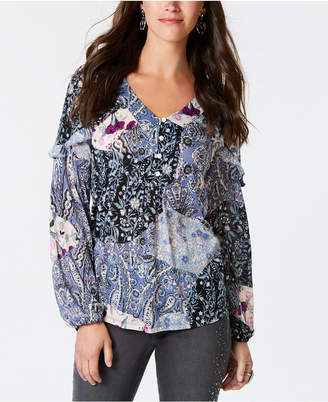 Style&Co. Style & Co Petite Printed Ruffled Top