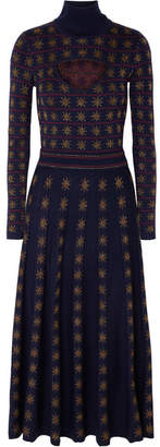 Temperley London Night Cutout Metallic Intarsia Wool-blend Midi Dress - Navy