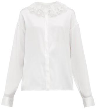 Àcheval Pampa Acheval Pampa - Pico Lace Collar Silk Blend Satin Blouse - Womens - White