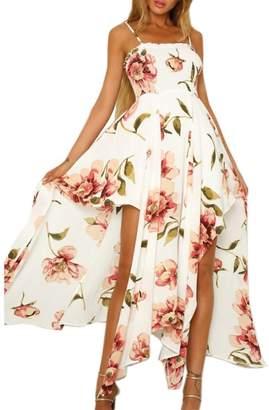 SWPS Women Sexy Long Dress Floral Printed Sling Sleeveless Lace-up Split Irregular