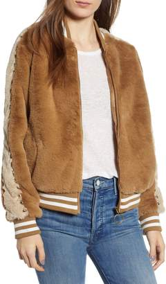 Mother Letterman Faux Fur Jacket