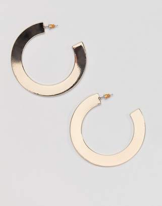 Missguided thick open hoop earring in gold