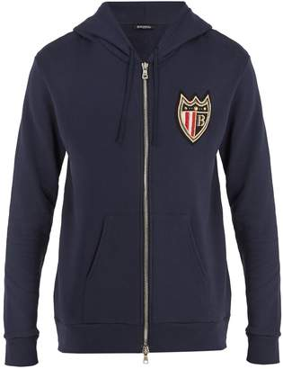 Balmain Crest-embroidered hooded jacket