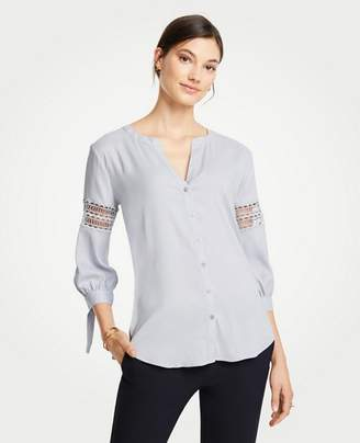 Ann Taylor Lacy Tie Cuff Blouse