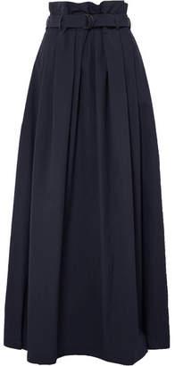 Brunello Cucinelli Belted Cotton-blend Poplin Maxi Skirt - Navy