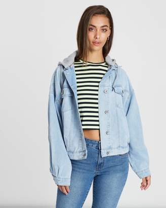 Cotton On Hooded Denim Bomber Jacket