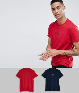 Emporio Armani Eva eagle logo 2 pack t-shirts in navy/red