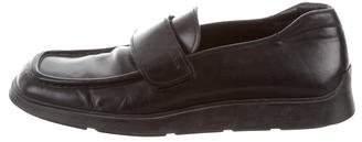 Prada Square-Toe Leather Loafers