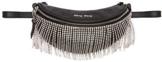 Miu Miu Black Crystals Fringe Belt Bag