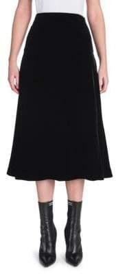 Fendi Velvet A-Line Midi Skirt