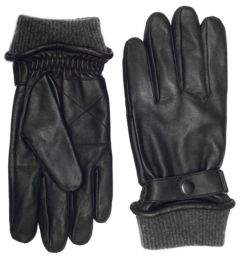 London Fog Buckled Leather Gloves with Knit Cuff