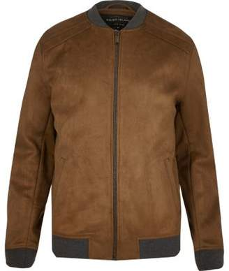 River Island Light brown faux suede bomber jacket