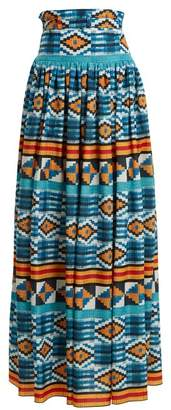 Stella Jean Ikat Print High Rise Maxi Skirt - Womens - Blue Multi