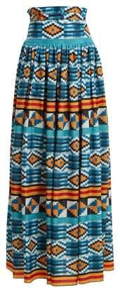 Stella Jean - Ikat Print High Rise Maxi Skirt - Womens - Blue Multi