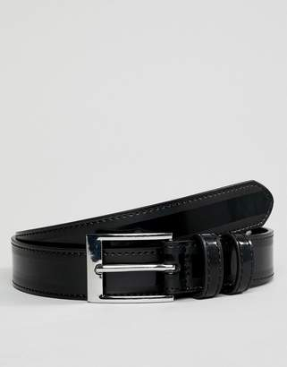 Asos Design DESIGN faux leather slim belt in black patent