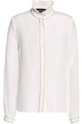 Vanessa Seward Embroidered Silk Crepe De Chine Shirt