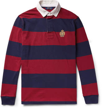 Polo Ralph Lauren Logo-Embroidered Twill-Trimmed Striped Cotton-Jersey Polo Shirt