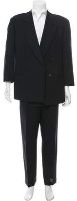 Giorgio Armani Double-Breasted Wool Pinstriped Suit