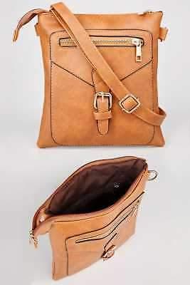 Yours Clothing Women's Tan Buckle Cross Body Bag