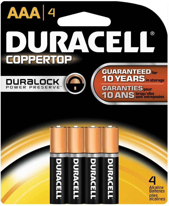 Duracell Coppertop AAA Batteries, 4 ct