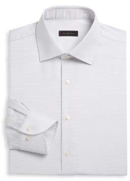 Saks Fifth Avenue COLLECTION Travel Micro Grid Cotton Dress Shirt