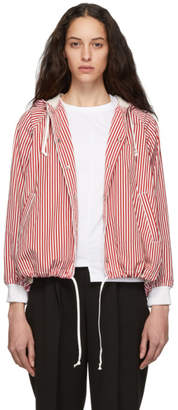 Comme des Garcons Red and White Striped Hooded Jacket