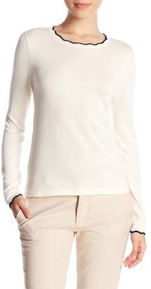 14th & Union Contrast Scallop Neck Sweater Top