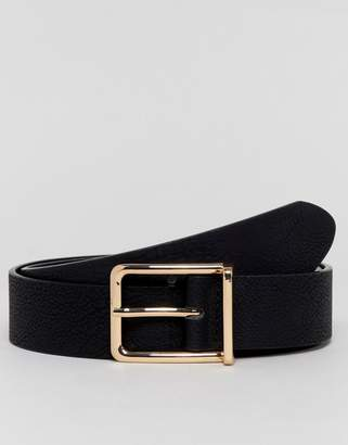 Asos DESIGN faux leather wide belt in black pebble grain and gold buckle
