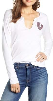 Zadig & Voltaire Crystal Heart Detail Split Neck Cotton Top