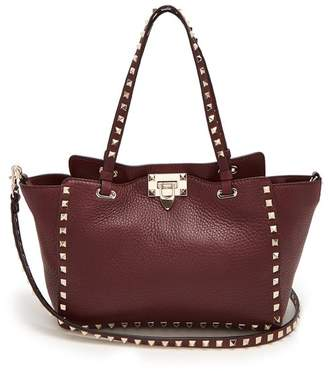 Valentino Rockstud Small Leather Tote - Womens - Burgundy