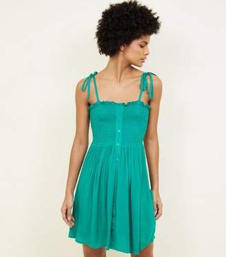 New Look Green Shirred Button Front Sundress