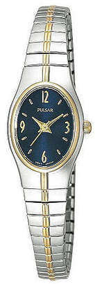 Pulsar Womens Blue Dial Two-Tone Dress Watch PC3090