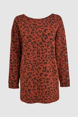 Next Womens Brown/Navy Stripe Popper Tunic