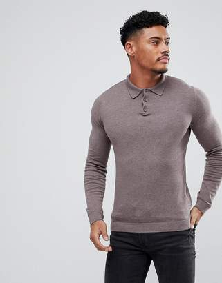 Asos Design DESIGN muscle fit knitted polo in brown