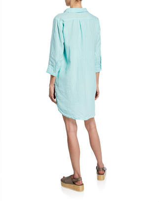 Allen Allen Lace-Up Linen Shirtdress