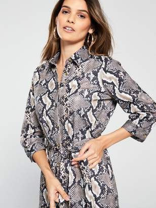 Wallis Animal Printed Buttoned Shirt Dress - Snake