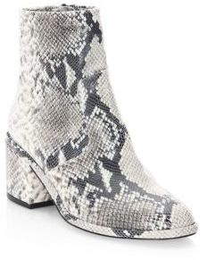 Robert Clergerie Almond Toe Snakeskin Booties $750 thestylecure.com
