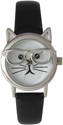 Olivia Pratt Cat-In-Glasses Leather Strap Watch