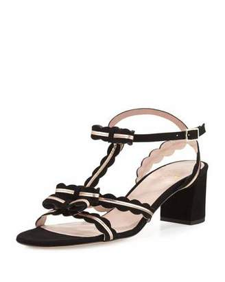 Kate Spade Medea Low-Heel Suede Sandal With Bows, Black
