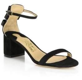 Salvatore Ferragamo Connie Suede Mid-Heel Sandals