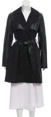 BB Dakota Leather-Trimmed Knee-Length Coat