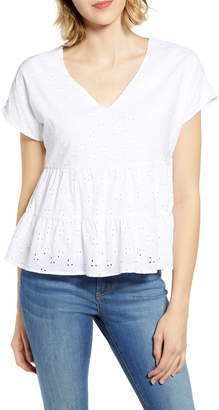 Gibson x The Motherchic Harmony Tiered Woven Eyelet Top