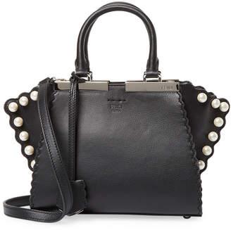 Fendi Mini 3Jours Pearl Embellished Leather Tote