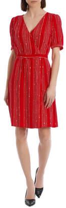 Basque Geo Print Wrap Dress