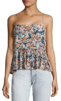 Joie Floral Peplum Cropped Top